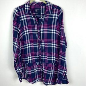 American Eagle Blue Pink White Purple Plaid Top 10